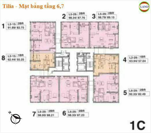 Mặt bằng tháp 1C tầng 6 và 7 Tilia Residence - MU7 Empire city