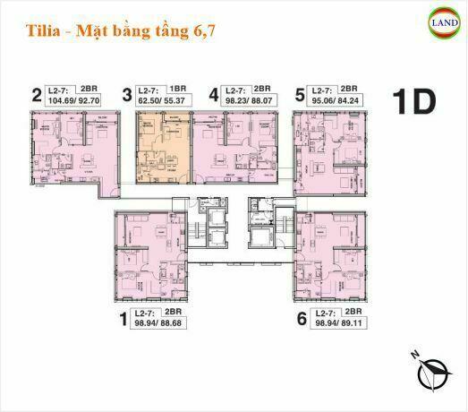 Mặt bằng tháp 1D tầng 6 và 7 Tilia Residence - MU7 Empire city