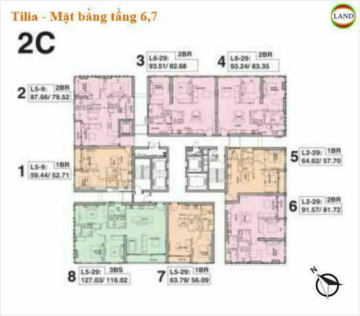 Mặt bằng tháp 2C tầng 6 và 7 Tilia Residence - MU7 Empire city