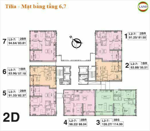 Mặt bằng tháp 2D tầng 6 và 7 Tilia Residence - MU7 Empire city