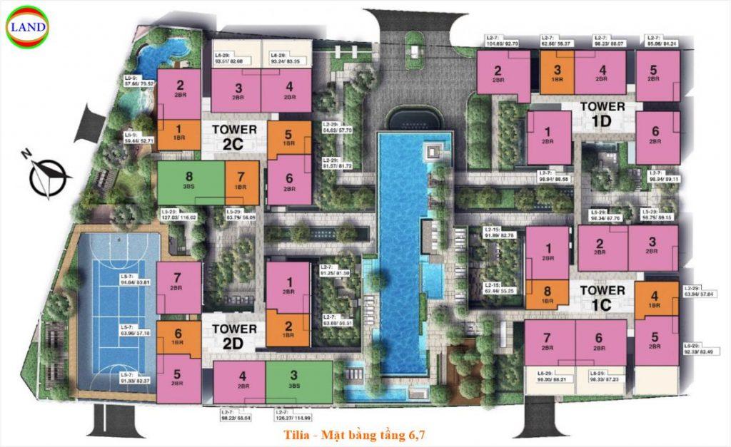 Mặt bằng tầng 6 và 7 Tilia Residence - MU7 Empire city