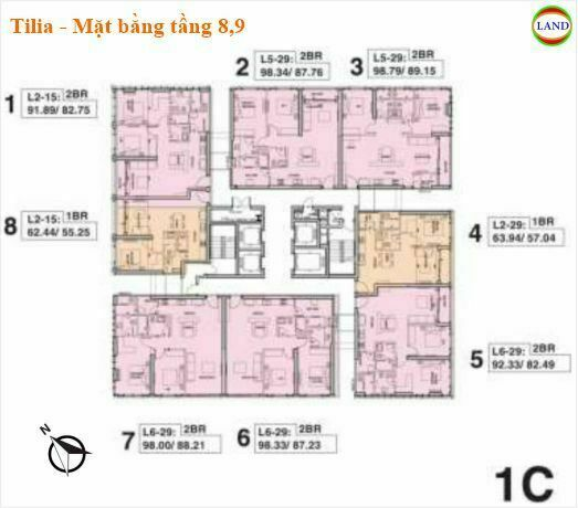 Mặt bằng tháp 1C tầng 8,9 Tilia Residence - MU7 Empire city