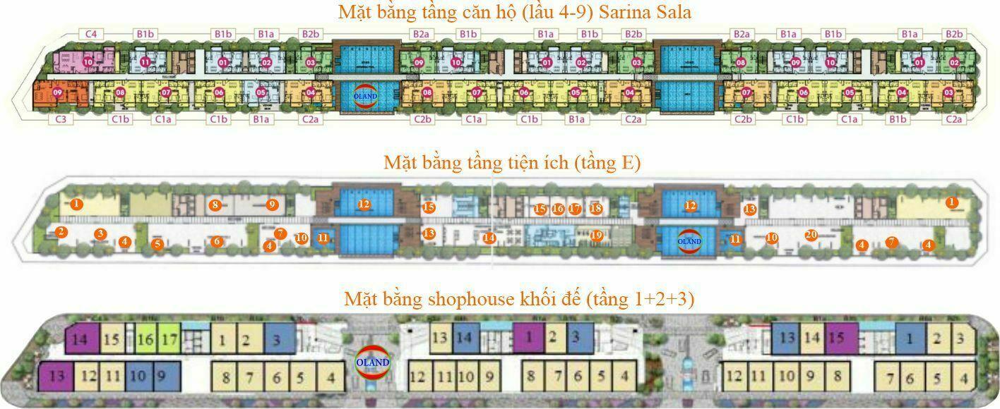 Mặt bàng tầng Sarina Condominium - Sala Đại Quang Minh, Thủ Thiêm, TP Thủ Đức