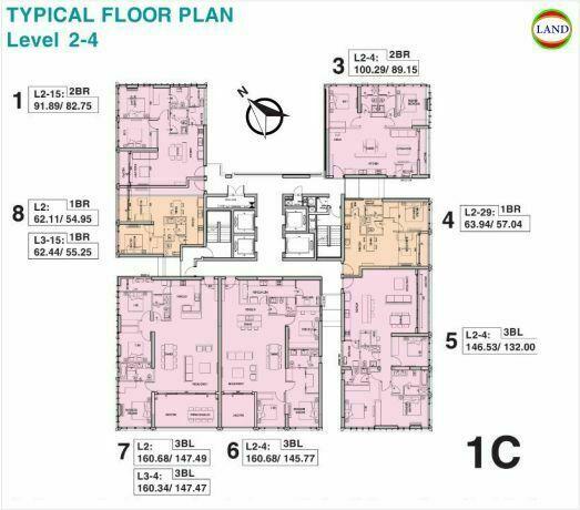 Mặt bằng tháp 1C tầng 2-4 Tilia Residence - MU7 Empire City