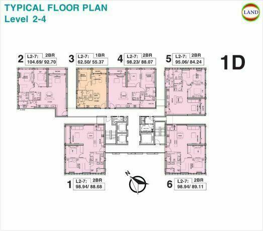 Mặt bằng tháp 1D tầng 2-4 Tilia Residence - MU7 Empire City