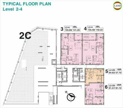 Mặt bằng tháp 2C tầng 2-4 Tilia Residence - MU7 Empire City