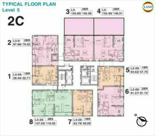 Mặt bằng tháp 2C tầng 5 Tilia Residence - MU7 Empire City
