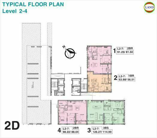 Mặt bằng tháp 2D tầng 2-4 Tilia Residence - MU7 Empire City
