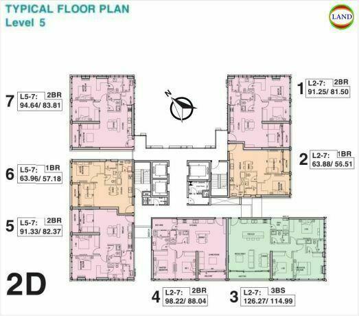 Mặt bằng tháp 2D tầng 5 Tilia Residence - MU7 Empire City