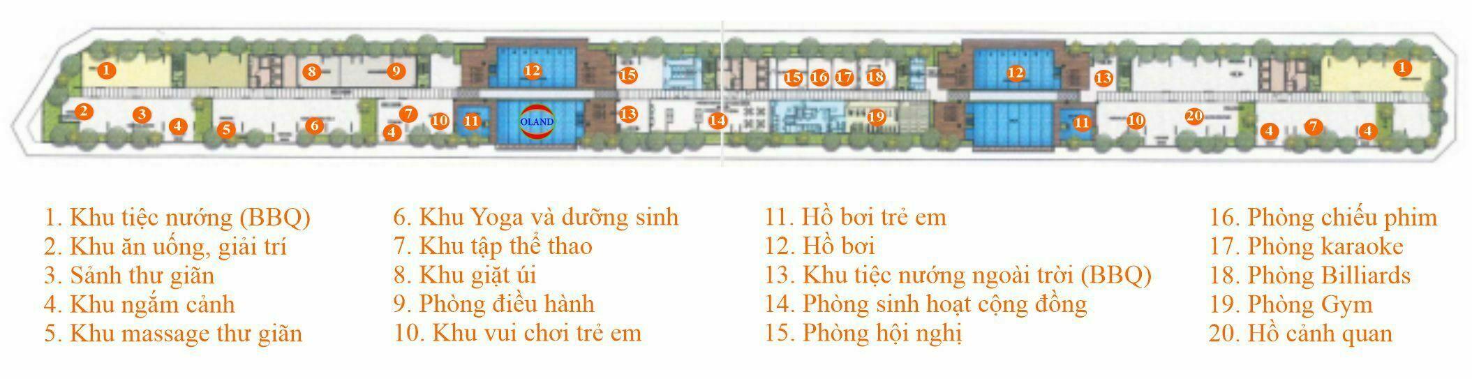 Mặt bằng tiện ích Sarina Condominium - Sala Đại Quang Minh, Thủ Thiêm