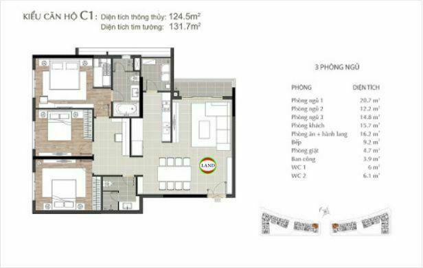 mẫu c1 căn hộ 3 phòng ngủ sarimi sala