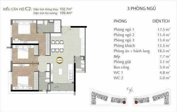 mẫu c2 căn hộ 3 phòng ngủ sarimi sala