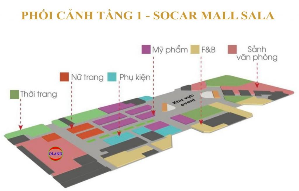 Phối cảnh mặt bằng tầng 1 Socar Mall - Sala Thủ Thiêm