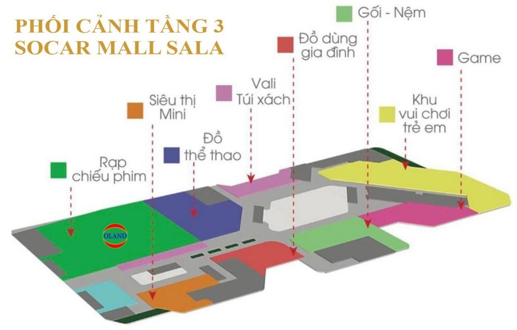 Phối cảnh mặt bằng tầng 3 Socar Mall - Sala Thủ Thiêm