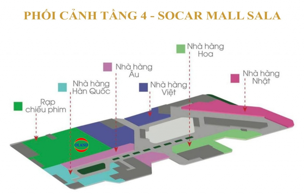 Phối cảnh mặt bằng tầng 4 Socar Mall - Sala Thủ Thiêm