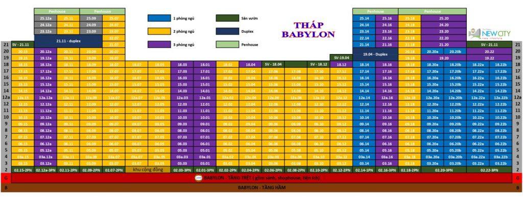 Sơ đồ căn tháp Babylon - New City Thủ Thiêm - Quận 2