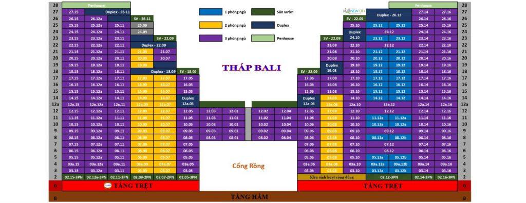 Sơ đồ căn tháp Bali - New City Thủ Thiêm - Quận 2