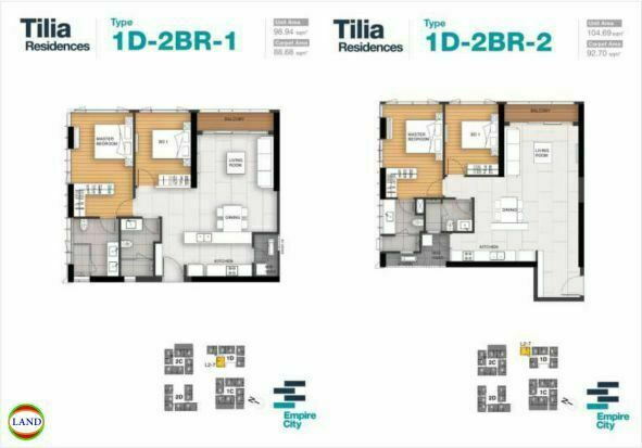 Mặt bằng căn hộ 1,2 tháp 1D Tilia Residence - MU7 Empire city