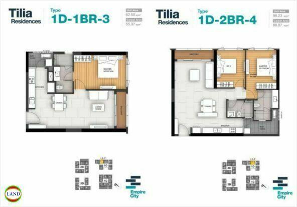 Mặt bằng căn hộ 3,4 tháp 1D Tilia Residence - MU7 Empire city