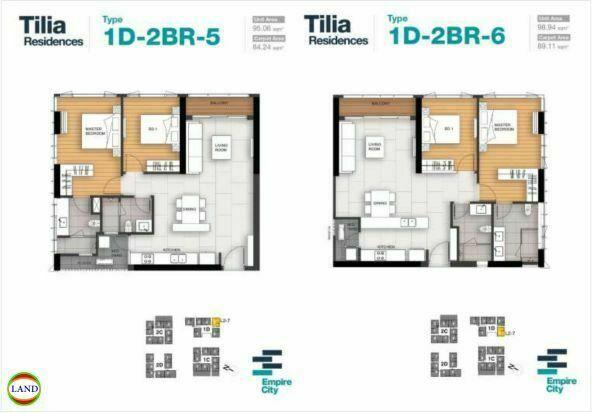 Mặt bằng căn hộ 5,6 tháp 1D Tilia Residence - MU7 Empire city
