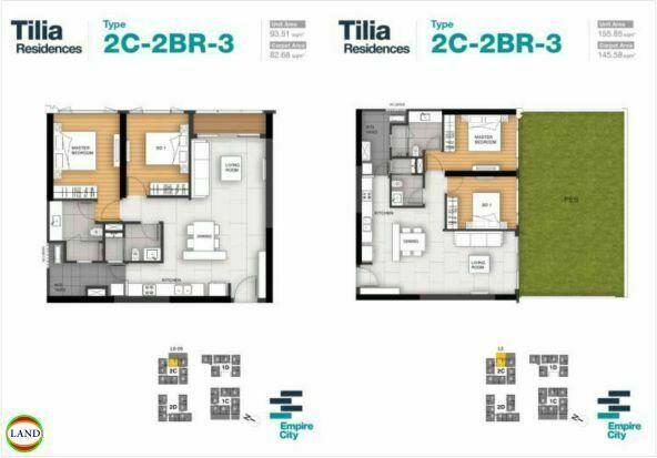 Mặt bằng căn hộ 3 tháp 2C Tilia Residence - MU7 Empire city