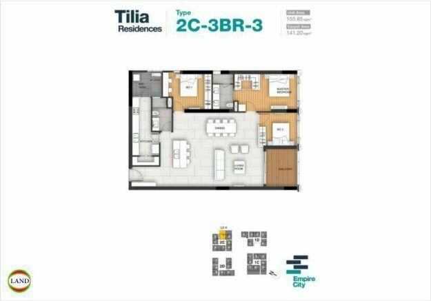 Mặt bằng căn hộ 3.2 tháp 2C Tilia Residence - MU7 Empire city