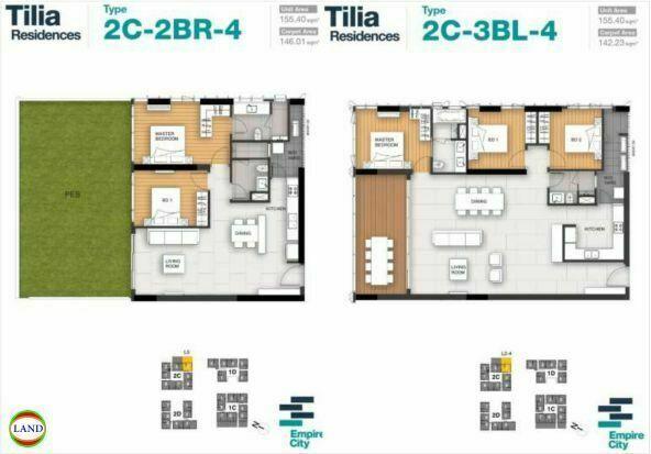 Mặt bằng căn hộ 4 tháp 2C Tilia Residence - MU7 Empire city