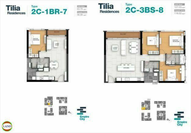Mặt bằng căn hộ 7,8 tháp 2C Tilia Residence - MU7 Empire city