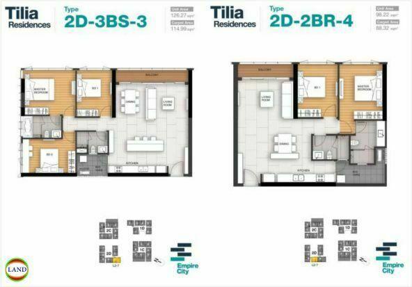 Mặt bằng căn hộ 3,4 tháp 2D Tilia Residence - MU7 Empire city