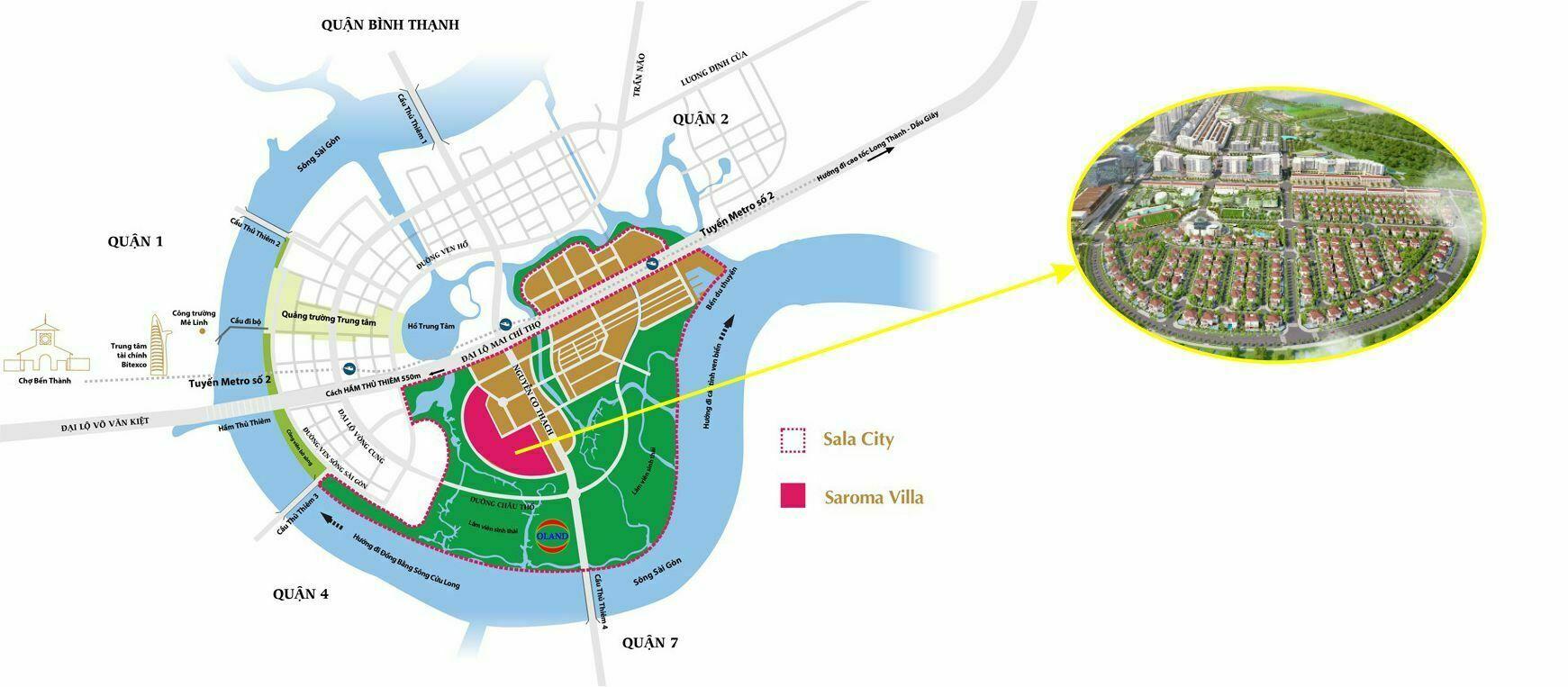 Vị trí biệt thự Saroma Villa Sala Đại Quang Minh