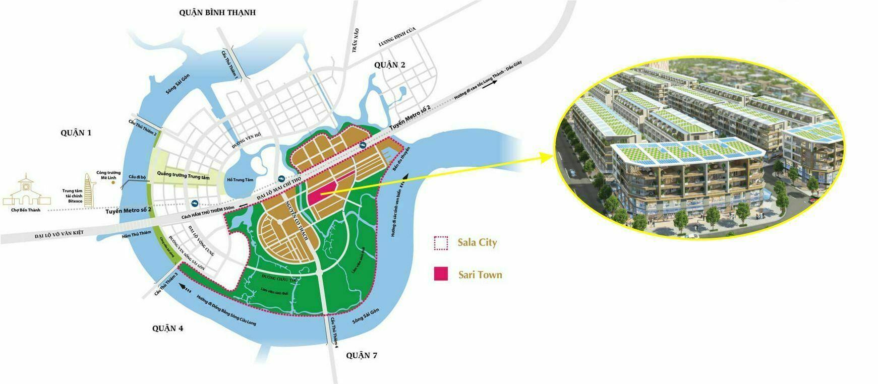 Vị trí nhà phố thương mại SariTown - Sala Đại Quang Minh, quận 2
