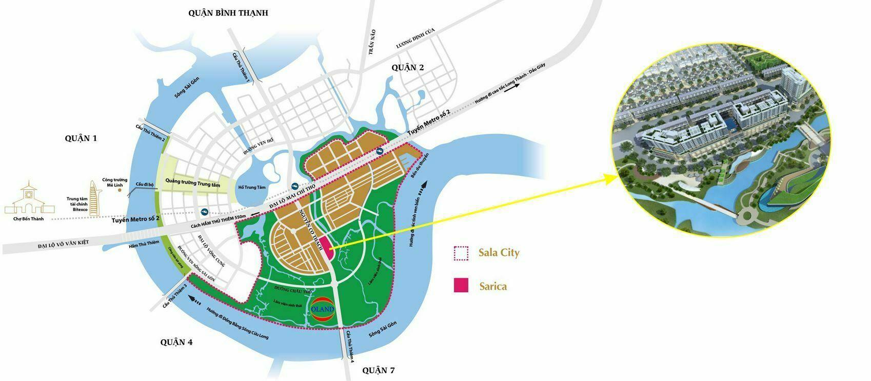 Vị trí Sarica Sala Đại Quang Minh - Quận 2