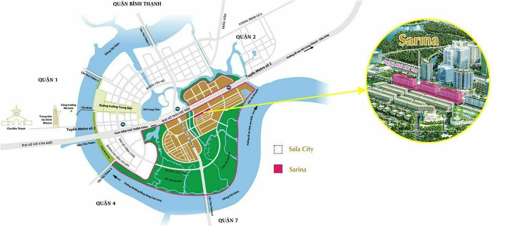 Vị trí Sarina Sala Thủ Thiêm, Quận 2