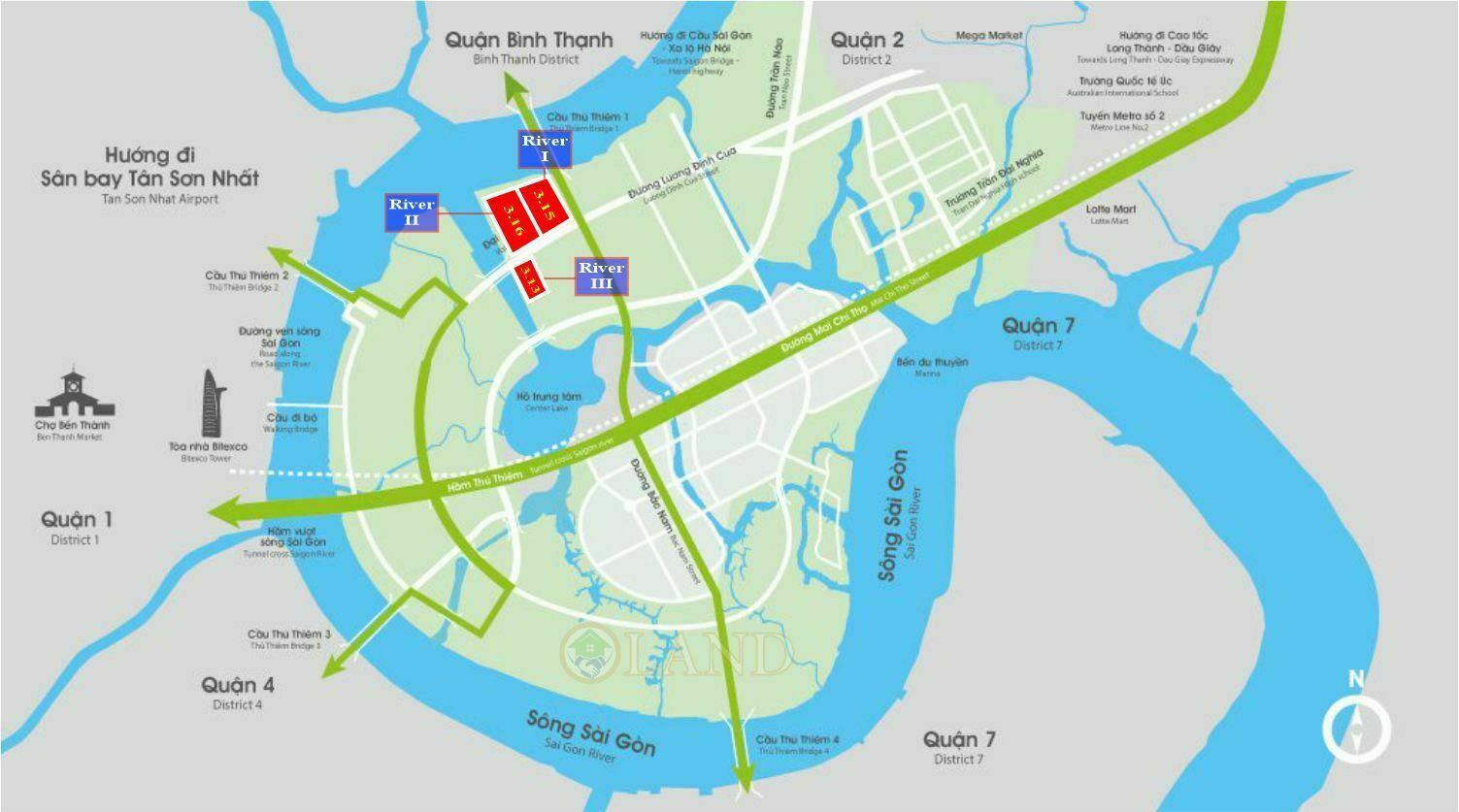 Vị trí The River - City Gaden Thủ Thiêm